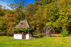 Traditioneel boerhuis, Astra Ethnographic-dorpsmuseum, Sibiu, Roemenië, Europa Royalty-vrije Stock Afbeeldingen