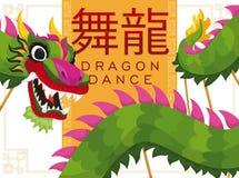 Traditioneel Chinees Groen Dragon Dance Announcing Good Harvest en Welvaart, Vectorillustratie Royalty-vrije Stock Afbeelding