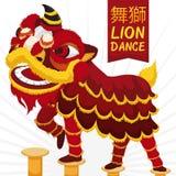 Traditioneel Chinees Lion Dance Performance met Krijgsdemonstratie, Vectorillustratie Stock Afbeelding