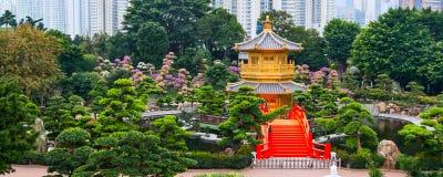 Traditioneel Chinees paviljoen in openbare Nan Lian Garden Stock Afbeelding