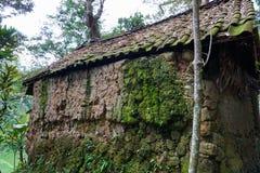 Traditioneel die huis in Bali met mos wordt behandeld stock afbeeldingen