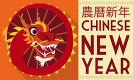 Traditioneel Dragon Dance in Vlakke Stijl voor Chinees Nieuwjaar, Vectorillustratie Stock Afbeelding