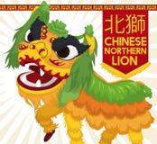 Traditioneel Groen en Geel Chinees Noordelijk Lion Dance Display, Vectorillustratie Royalty-vrije Stock Foto