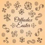 Traditioneel hand getrokken eenvoudig volksornament De reeks van de krabbel Het ontwerp voor krimpt eiomslag Kaart voor Ortodox P Stock Foto