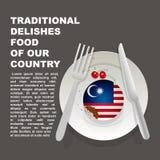 Traditioneel heerlijk voedsel van de affiche van het land van Maleisië Aziatisch nationaal dessert Vectorillustratiecake met nati vector illustratie