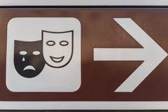 Traditioneel het schreeuwen en het lachen gezicht als theater of broadway teken stock foto