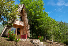 Traditioneel huis in het hout Stock Afbeeldingen