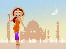 Traditioneel Indisch Meisje royalty-vrije illustratie