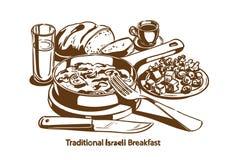 Traditioneel Israëlisch ontbijt royalty-vrije stock afbeelding