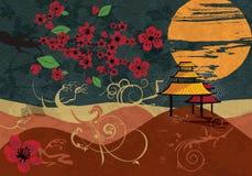 Traditioneel Japans landschap vector illustratie