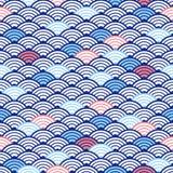 Traditioneel Japans naadloos patroon met golven De textuur van het water Zegel met een zeevaartthema Blauw, whire en rode kleuren vector illustratie