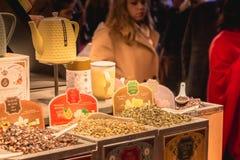Traditioneel Kerstmis met de hand gemaakt voedsel in expostion in Kerstmis royalty-vrije stock foto