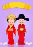 Traditioneel kostuum Chinees huwelijk royalty-vrije illustratie