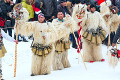 Traditioneel Kukeri-kostuumfestival in Bulgarije Royalty-vrije Stock Afbeelding