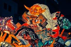Traditioneel Nebuta-vlottercijfer dat bij het Festival van Aomori Nebuta in Japan wordt gezien stock afbeeldingen