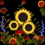 Traditioneel Oekraïens ornament met zonnebloem stock afbeelding