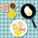 Traditioneel ontbijt in vlakke stijl stock afbeeldingen