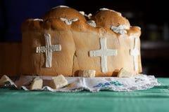 traditioneel oostelijk Orthodox kerkbrood Stock Afbeeldingen