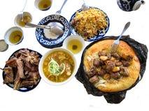 Traditioneel opmerkelijk schotels en voedsel van Centraal-Azië, royalty-vrije stock afbeeldingen