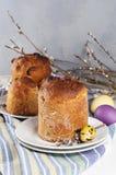 Traditioneel orthodox christelijk Pasen-voedsel kulich met rozijnen Stock Afbeelding