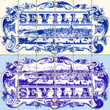 Traditioneel Portugal Ceramische Sevilla Vintage Vector Illustration Stock Foto