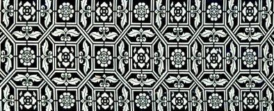 Traditioneel Thais stijlkunst het schilderen patroon op de muur Stock Foto