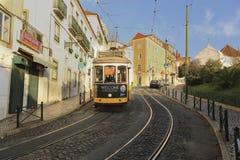 Traditioneel tramspoor in Lissabon Royalty-vrije Stock Foto's