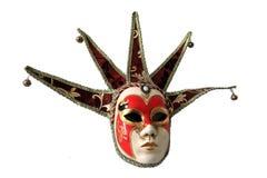 Traditioneel Venetiaans die masker op een witte achtergrond wordt geïsoleerd Stock Foto