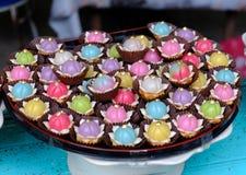 Traditioneel Zoet kleurrijk Cake Thais Dessert royalty-vrije stock afbeelding