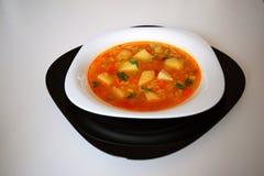 Traditionele aardappelsoep in een zwart-witte bowle op witte achtergrond stock afbeelding