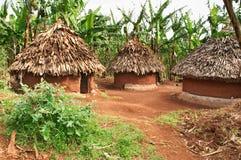 Traditionele Afrikaanse hutten Stock Afbeelding