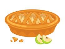 Traditionele Amerikaanse appeltaart met open en knapperige korst vector illustratie