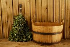 Traditionele apparatuur voor Russisch bad Stock Afbeelding