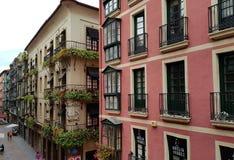 Traditionele architectuur in Bilbao Spanje royalty-vrije stock afbeelding