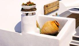 Traditionele architectuur op Santorini-eiland Stock Foto