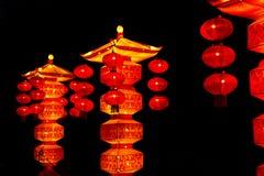 Traditionele Aziatische pagodelantaarns Stock Fotografie