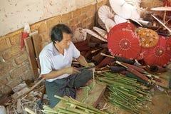 Traditionele Birmaanse Parasol Stock Foto's