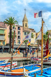 Traditionele boten in haven van sanary-sur-MER, Var, Frankrijk Stock Foto's