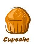 Traditionele bruine die cupcake op wit wordt geïsoleerd Stock Foto's