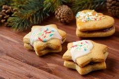 Traditionele Bulgaarse dubbele koekjes met jam geroepen vullen en kleurrijk suikerglazuur, Stock Afbeelding