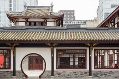 Traditionele Chinese architectuur in de Tempel van Chengdu Daci Stock Afbeelding