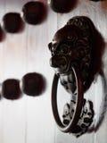 Traditionele Chinese deuren met messingshandvatten symbolisch van de hoofden van de leeuw Stock Afbeelding