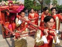 Traditionele Chinese huwelijksviering stock fotografie