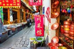 Traditionele Chinese met de hand gemaakte werktuigen bij giftwinkel, Lijiang Royalty-vrije Stock Afbeeldingen