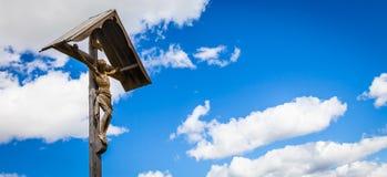 Traditionele Crufix in Dolomiti-Gebied - Italië Royalty-vrije Stock Foto's