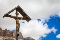 Traditionele Crufix in Dolomiti-Gebied - Italië Stock Foto