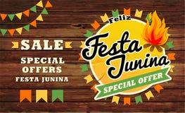 Traditionele de illustratie van Festajunina Het festivalpartij van Brazilië Juni Vector illustratie Latijns-Amerikaanse vakantie Royalty-vrije Stock Foto