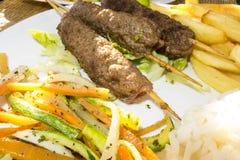 Traditionele de Kebabmaaltijd van Marrakech Stock Foto's
