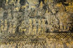 Traditionele de stijl van Laos het schilderen kunst in wat xiengthong, luangpraba Stock Foto