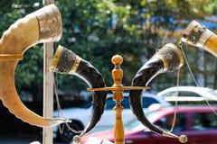 Traditionele decoratieve kleurrijke hoorn met metaal Royalty-vrije Stock Fotografie